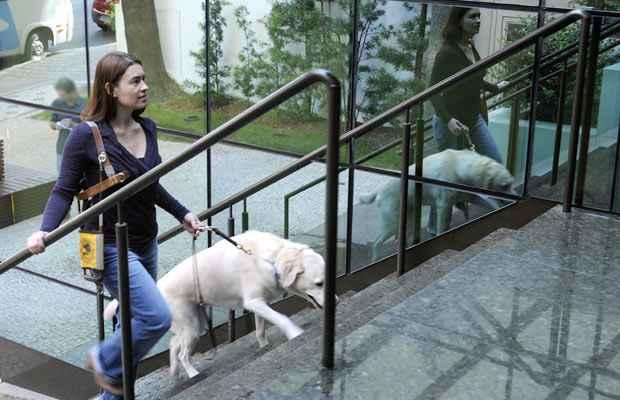 Danielle Mendes e sua melhor amiga, buscada nos Estados Unidos em 2007, que atende a 80 comandos em ingl�s: no Brasil s�o cerca de 6 milh�es de pessoas com defici�ncia visual, mas apenas 90 c�es-guia. Foto: Jair Amaral/EM/D.A. Press