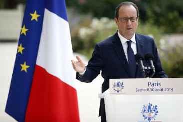 Fran�ois Hollande no Eliseu em 30 de agosto de 2014. Foto: � AFP/Kenzo Tribouillard (Fran�ois Hollande no Eliseu em 30 de agosto de 2014. Foto: � AFP/Kenzo Tribouillard)