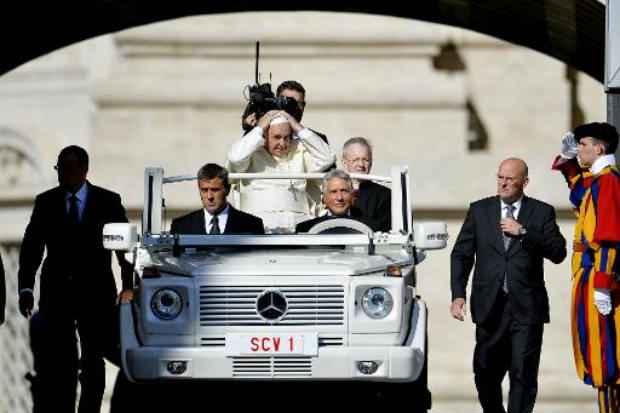 O papa Francisco antes da audiência geral na praça de São Pedro no dia 3 de setembro. Foto: AFP Andreas Solaro