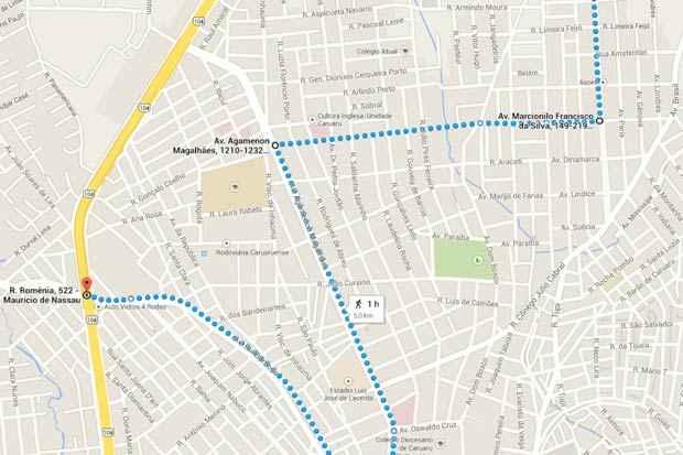 O percurso de cinco quilômetros da ciclofaixa de Caruaru neste domingo. Imagem: Google Maps/Reprodução