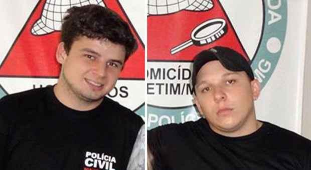 Acusados Lucas e Luno, que se apresentaram à Corregedoria da Polícia Civil. Foto: Paulo Filgueiras/EM/D.A. Press