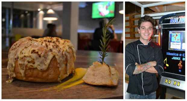 La Gondola - pão italiano gratinado e recheado com creme de gorgonzola e mignon ou camarões - é o favorito do chef Pedro Godoy