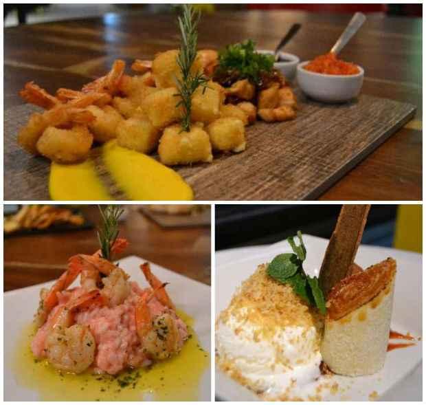 Snack Vaporetto 3 traz um mix de queijo empanado, camarões, frango com mel de engenho e geleia de frutas; Risoto de queijo do reino é uma das boas pedidas de principais; para sobremesa, aposte no Bolo de rolo crocante