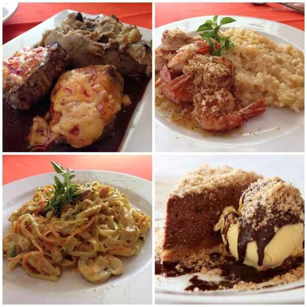 Principais: Mignon ao queijo do reino; Camarão crock crock; Fettuccini ao creme de curry e frango. De sobremesa, que tal um cheesecake de chocolate e banana? Vale cada caloria!