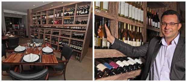 Butique de vinhos Grand Cru abriga restaurante com 70 lugares. Sommelier Marcos Nascimento dá dicas de harmonização aos clientes. Créditos: Roberto Ramos/DP
