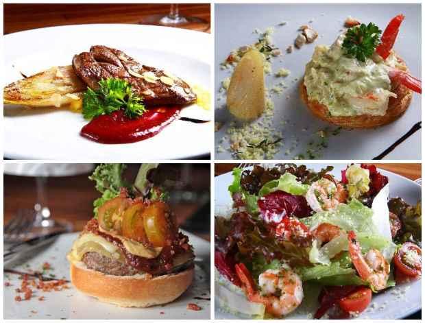 Entradas: Foie gras, Vol au vent, Hambúrguer gourmet e Salada de camarão com cuscuz marroquino