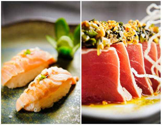 Salmão Brulée é novo corte de sashimi, levemente marinado e a famosa Colina de atum, que agora pode ter metade de salmão e a colina de atum. Fotos: Ramon Vasconcelos/Divulgacao