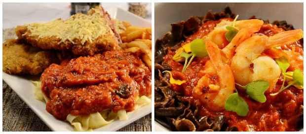 Kobe beef ganha releitura como parmegiana pelas mãos do chef Alberto. Massa de café com camarões gigantes é destaque entre os pratos com frutos do mar