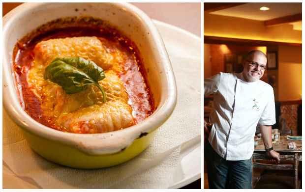 Uma das novas criações do chef: Caneloni de galinha caipira gratinado, com molho de tomates e muçarela