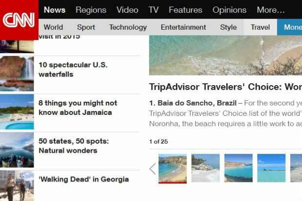 Norte-americana CNN noticiou a eleição da praia brasileira. Foto: cnn.com/Reprodução