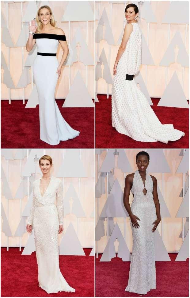 Reese Witherspoon e Marion Cotillard apostaram no branco. Crédito: AFP