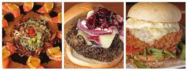 Carpaccio de salmão da Wada Tamakaria; Hambúrguer de cordeiro empanado e Sanduíche vegetariano Ponte Nilo Coelho, ambos do Kwai Burguer. Foto: Roberto Ramos/DP/D.A Press