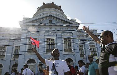 Antes da sessão ordinária desta quarta, professores realizaram protesto em frente à Assembleia (Foto: Roberto Soares/Alepe) (Roberto Soares/Alepe)