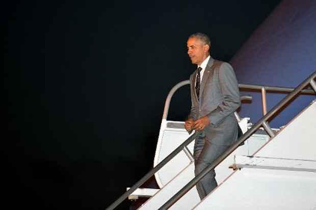 O presidente americano Barack Obama chega ao Panamá para participar da Cúpula das Américas, no dia 9 de abril de 2015. Foto: Mandel Ngan/AFP