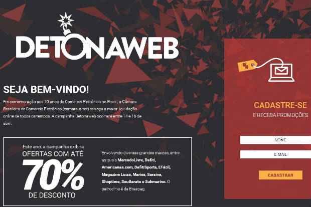 Para conhecer as promoções da Detonaweb, basta acessar o site da campanha. Foto: Reprodução da internet