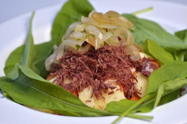 Abóbora do Sertão feita com queijo holandês e carne seca desfiada. Foto: Rafael Bandeira/ Exclusiva!BR