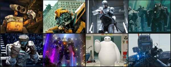 Em sentido horário: Wall-E, Transformers, Robocop, Homem de Ferro (drones), Gigantes de Aço, Operação Big Hero (Bay Max) e Chappie. Clique na imagem para ampliar e ver as fotos