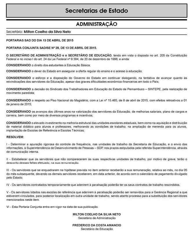 Diário Oficial de Pernambuco/Reprodução