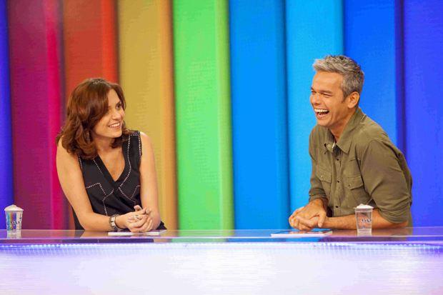 Monica Iozzi e Otaviano Costa no Video Show. Foto: TV Globo/Divulgação