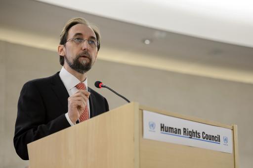 O Alto Comissário da ONU para os Direitos Humanos Zeid Ra'ad Al Husein discursa em Genebra. Foto: AFP/Arquivos FABRICE COFFRINI
