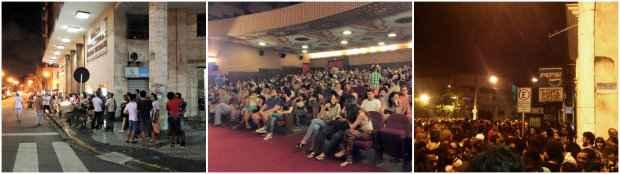 Imagens da fila em frente ao cinema, da plateia cheia e da festa ao ar livre. Fotos: Facebook/ Reprodução