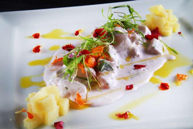 Cebiche de Pescado e Pulpo em Crema de Oliva Roja é opção para quem for almoçar no Chicama, que agora abre nas sextas-feiras. Foto: 4Comunicação/ Divulgação