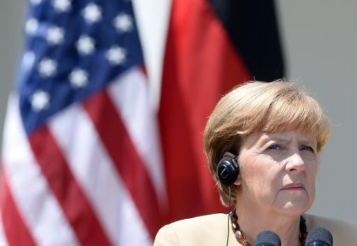 A chanceler alemã Angela Merkel participa de coletiva de imprensa, em Washington, DC. Foto: AFP/Arquivos JEWEL SAMAD