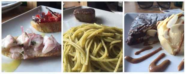 Bruschetta de ceviche, Spaguetti com pesto e mignon e Palleta italiana