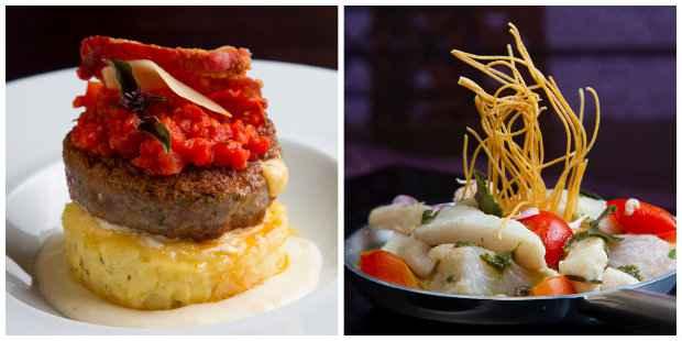 Polpetoni ganha molho de tomate fresco, enquanto o Ceviche de peixe é marinado no suco de cajá. Créditos: Luciana Ourique/divulgação