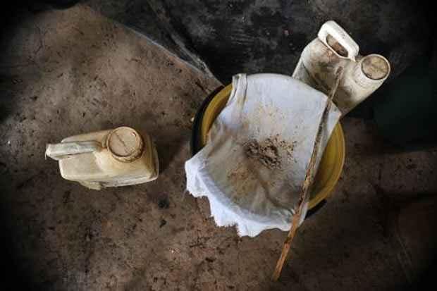 Base de cocaína em laboratório encontrado pelas forças armadas da Colômbia, em Puerto Concordia, no dia 25 de janeiro de 2011. Foto: Guillermo Legaria/AFP/Arquivos