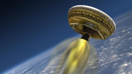 Uma ilustração da Nasa mostra o disco voador, conhecido como Low-Density Supersonic Decelerator (LDSD) Foto: NASA/AFP/Arquivos Handout