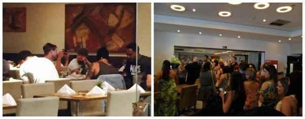 Após café da manhã, cantores receberam fãs que os aguardavam fora do restaurante. Fotos: Dany Chasez