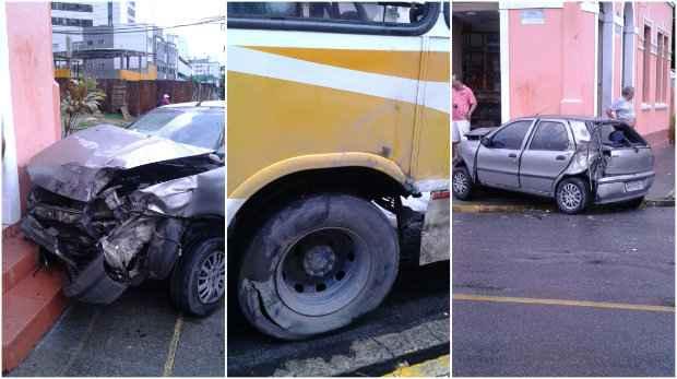 A colisão entre o carro e o ônibus, em Casa Amarela, não fez vítimas. Foto: WhatsApp/Cortesia