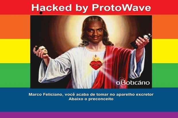 Imagem exibida na página do pastor após ataque cibernético. Foto: Reprodução
