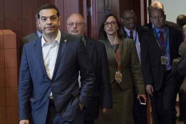 O primeiro-ministro da Grécia, Alexis Tsipras, em Bruxelas para reunião com representantes da Comissão Europeia. Foto: John Thys/AFP