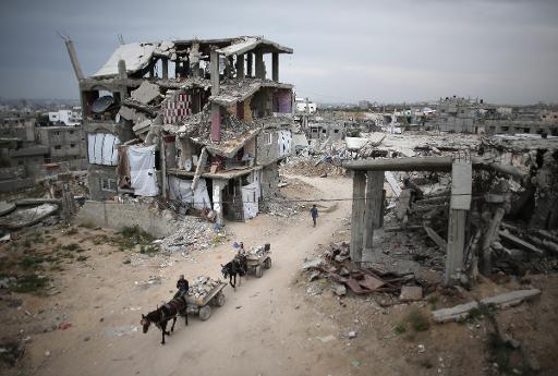 Destruição causada pela guerra de 2014 em Gaza. Foto:Thomas Coex/ AFP