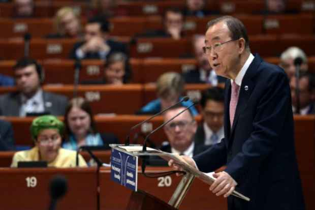 O secretário-geral da ONU, Ban Ki-moon, em Estrasburgo, França, no dia 23 de junho de 2015. Crédito: Frederick Florin/AFP/Arquivos
