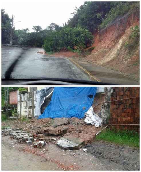Desabamento de barreira em Aldeia e de muro no bairro de Dois Irmãos, no Recife - Fotos: Ana Paula Neiva/DP/D.A Press e Ana Lívia/Facebook (Ana Paula Neiva/DP/D.A Press e Ana Lívia/Facebook)