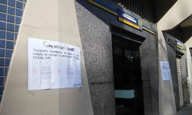 Local de prova tinha um comunicado sobre o adiamento. Fotos: José Alberto/Divulgação