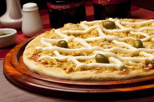 Pizza Frango com catupiry, da Pizzaria Atlântico. Foto: Divulgação