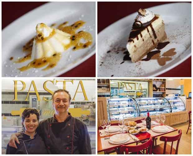 Casal Geovanna e Paolo é responsável por toda a produção da casa. Ele fica com as massas, ela com as sobremesas, como a incrível Panna cotta de coco e as tortas