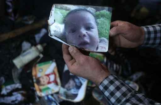 Fotografia do bebê Ali Dawabcheh, que morreu no incêndio. Foto: JAAFAR ASHTIYEH /AFP