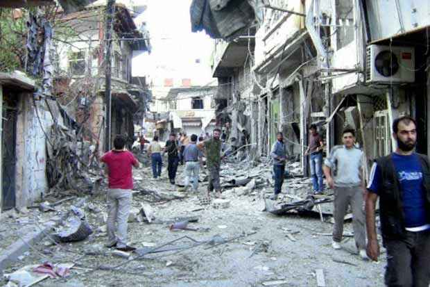 Destruição após ataque do regime sírio, em Zabadani, no dia 8 de agosto de 2012. Foto: Shaam News Network/Ho/AFP/Arquivos