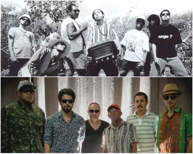 Nação Zumbi em 1996 e em 2015. Fotos: Arquivo DP e Nação Zumbi/Divulgação oficial