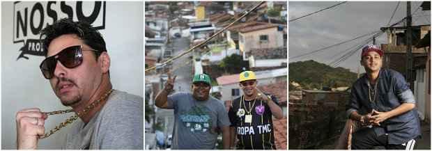Os MCs Cego, Elloco, Shevchenko e Vertinho (da esquerda para a direita) dão voz às periferias pernambucanas. Fotos: Nando Chiappetta, Ricardo Fernandes e Guilherme Veríssimo/DP/DA Press