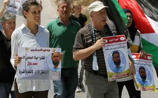 Manifestação de apoio ao prisioneiro, no povoado de Nabi Saleh, Cisjordânia. Foto: Abbas Momani/ AFP