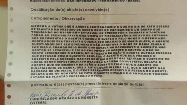 Cópia do boletim de ocorrência registrado pelo Sindicato. Foto: Sindaspe/Divulgação