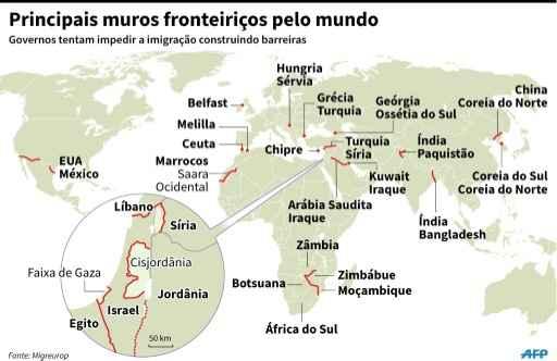 Mapa com localização das principais barreiras fronteiriças no mundo. Arte: V.Breschi/I.Véricourt/S.Malfatto, sim/jvb, Cecilia Rezende/AFP