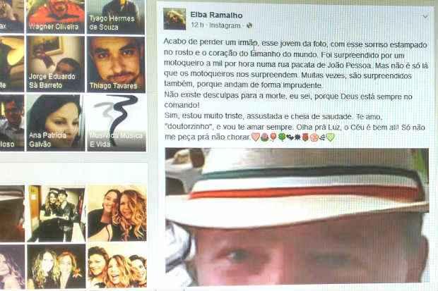 Cantora usou Instagran e Facebook para lamentar perda trágica do irmão. Foto: Reprodução: Facebook/Elba Ramalho