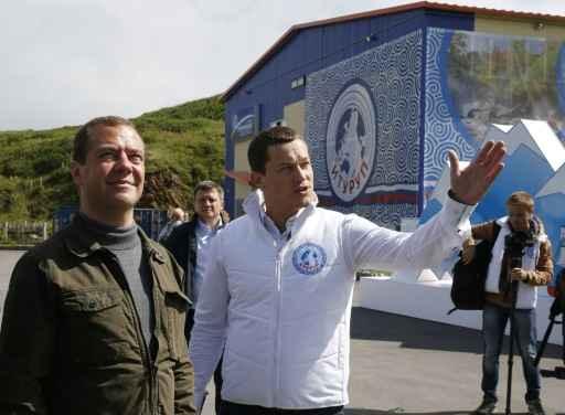 Dmitri Medvedev nas ilhas Kuril neste sábado. Foto: RIA Novosti/AFP Dmitry Astakhov